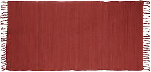 Relaxdays Red Rag Rug 70 x 140 cm with Fringes