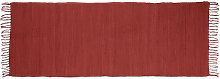 Relaxdays Red Rag Rug 80 x 200 cm with Fringes