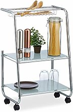 Relaxdays Rolling Metal Side Trolley with 2 Glass