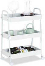 Relaxdays Serving Trolley, 3 Tiers, 360° Rotating