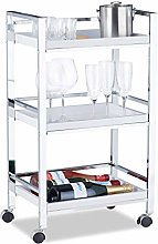 Relaxdays Serving Trolley with 3 Removable Trays,
