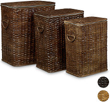 Relaxdays Set of 3 Laundry Basket Rattan Stackable