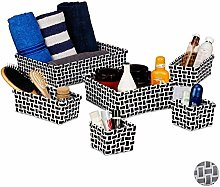 Relaxdays Set of 6 Storage Baskets Wicker Look