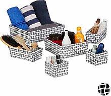 Relaxdays Set of 6 Storage Baskets Wicker Look