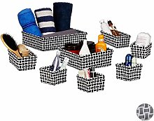Relaxdays Set of 8 Storage Baskets Wicker Look