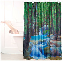 Relaxdays Shower Curtain with Waterfall Motif,