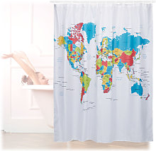 Relaxdays Shower Curtain with World Map Motif,