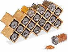 Relaxdays Spice Rack with 18 Spice Jars, Bamboo,