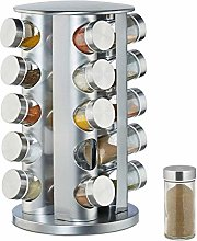 Relaxdays Spice Rack with 20 Jars, 360° Rotation,