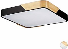 Relaxdays, Square Ceiling Lamp, Wood & Metal, 24 W
