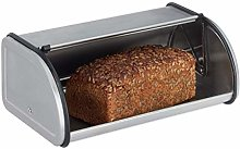 Relaxdays Stainless Steel Bread Bin, Small Bread