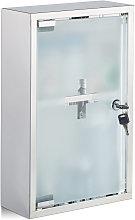 Relaxdays Stainless Steel Cabinet, Glass Door, 2