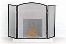 Relaxdays Steel Spark Guard, 3-Panel Fire Screen,