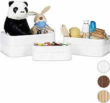 Relaxdays Storage Basket Set of 3, Fabric Lining,
