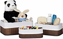 Relaxdays Storage Basket Set of 3, Fabric Lining,