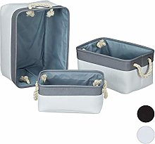 Relaxdays Storage Basket Set of 3, Handles,
