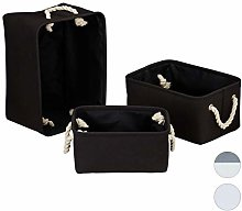 Relaxdays Storage Basket Set of 3, Handles,