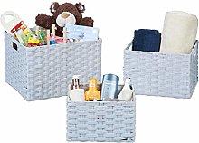 Relaxdays Storage Basket Set of 3, Wicker Look,