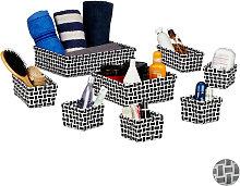 Relaxdays Storage Basket Set of 8, Wicker Look,