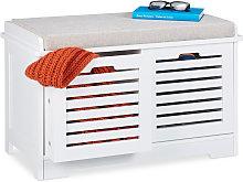 Relaxdays Storage Bench, 2 Drawers, Soft Cushion,