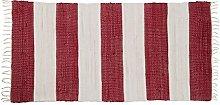 Relaxdays Striped Rag Rug 70 x 140 cm with Fringe