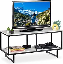 Relaxdays TV Lowboard, 2 Tiers, Living Room Table,