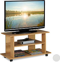 Relaxdays TV Stand on Castors, 2 Compartments,