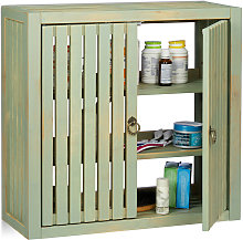 Relaxdays Wall Cabinet Vintage, Bamboo, 2 Doors,