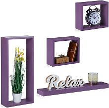 Relaxdays Wall-Mount Floating Shelf Set of 4,