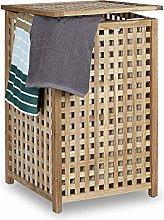 Relaxdays Walnut Hamper Wooden Storage Bin Basket
