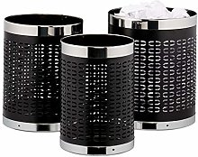 Relaxdays Waste Paper Bin Set of 3 Round 3 Sizes