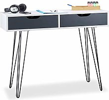Relaxdays White Office Desk with Drawers, Modern