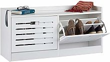 Relaxdays White Shoe Cabinet, 2 Compartments,