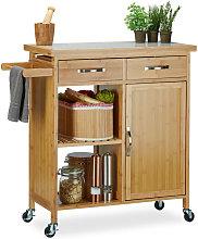Relaxdays Wooden Kitchen Cart, Bamboo, 4 Wheels,