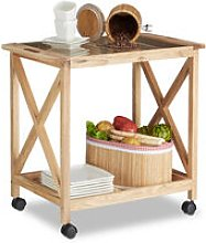 Relaxdays Wooden Kitchen Cart with Wheels, Serving