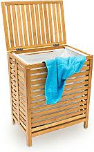 Relaxdays Wooden Laundry Hamper Linen Basket 100L
