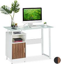 Relaxdays Writing Desk,Glass Work Surface, 2
