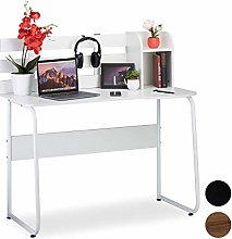 Relaxdays Writing Desk with 2 Compartments and