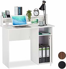 Relaxdays Writing Desk with Storage Space, Side