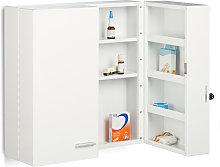 Relaxdays XXL Medicine Cabinet, Premium Locking w/