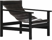 Relaxing Armchair Black Real Leather - Black