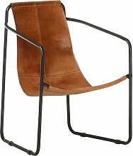 Relaxing Armchair Brown Real Leather - Brown -