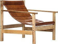 Relaxing Armchair Brown Real Leather - Brown