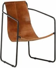 Relaxing Armchair Brown Real Leather - Youthup