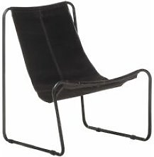 Relaxing Chair Black Real Leather - Youthup