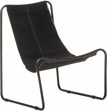 Relaxing Chair Black Real Leather
