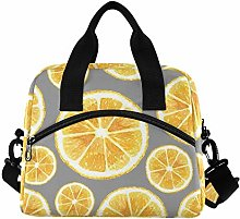 RELEESSS Orange Fruit Insulated Lunch Bag Large