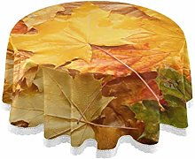 RELEESSS Round Tablecloth Autumn Leaves Table