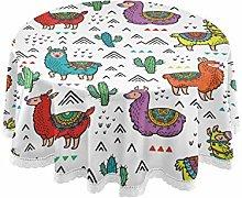 RELEESSS Round Tablecloth Ethnic Alpaca Llama