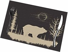 remmber me Grunge Bear in Forest Placemat Set of 6